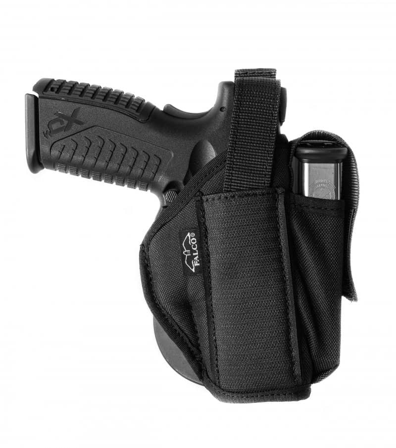 Nylon paddle holster with integrated magazine pouch