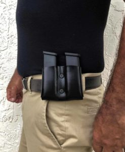 double magazine pouch, leather